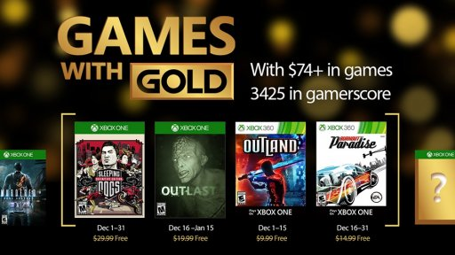 Games with Gold for December 2016 Announced